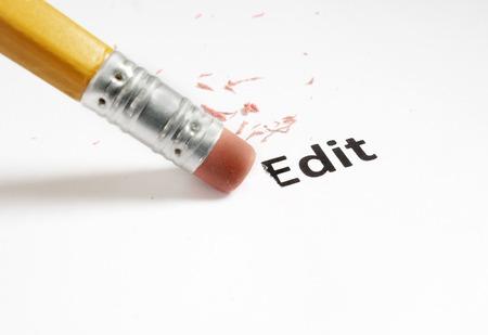 err: closeup of a pencil eraser and Edit text