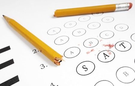 Closeup of a multiple choice exam with SAT text