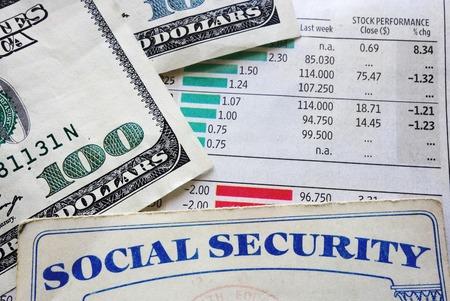 Carte de sécurité sociale, de l'argent et des numéros de bourse Banque d'images - 26082954