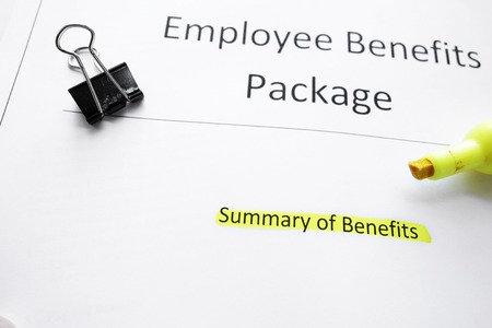 Employee Benefits Package forms and highlighter