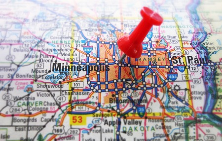 Red tack in a map of Minneapolis, Minnesota                                photo