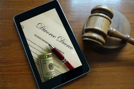 Divorce Decree document on a tablet screen                               photo