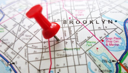 Red tack in map of Brooklyn, New York                               photo