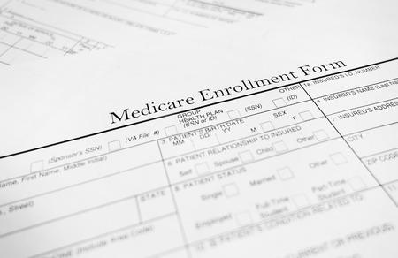 enrollment: Closeup of a Medicare enrollment form  - Healthcare concept