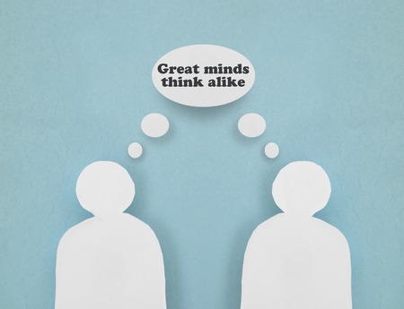 two minds: Two paper figures with Great Minds Think Alike thought bubble