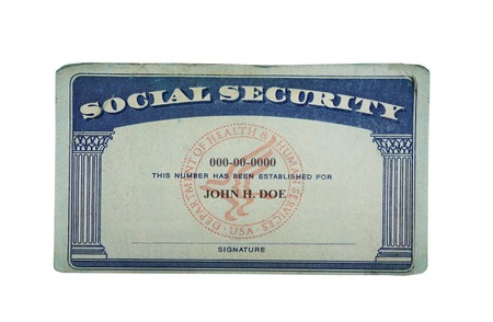 Blank US social security card isolated on white                                photo
