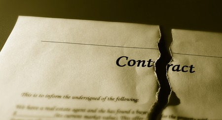broken contract: Closeup of atorn legal contract agreement                              Stock Photo