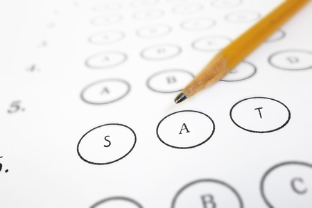 Closeup of a SAT test answer sheet and pencil