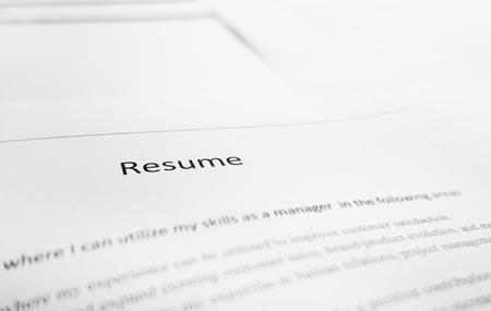 仕事の応募者の履歴書のクローズ アップ