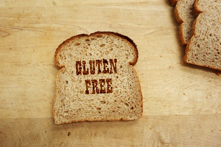 Bread slice with Gluten Free text photo