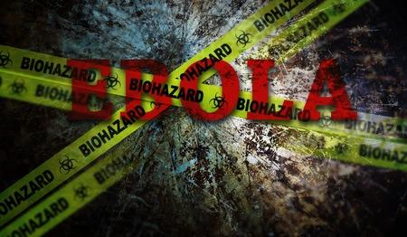 에볼라 텍스트 및 노란색 생물 학적 테이프