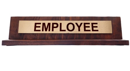 metal plaque: Wooden nameplate with Employee text, isolated on white