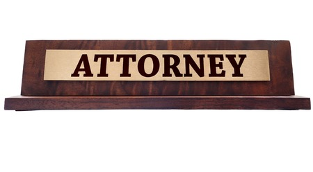 nameplate: Wooden nameplate with Attorney title Stock Photo