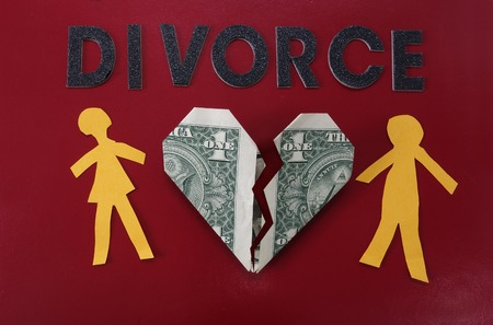 alimony: Paper couple with broken dollar heart and Divorce letters