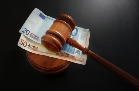 Euro notes and a court gavel