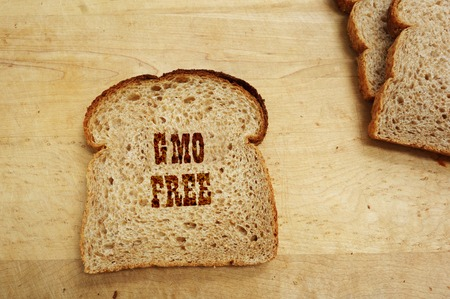 Bread slice with GMO Free text