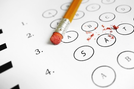 SAT multiple choice test with broken pencil