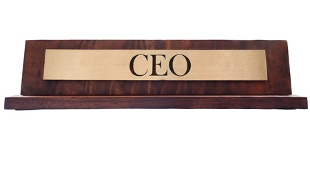 nameplate: Wooden nameplate with CEO text, isolated on white