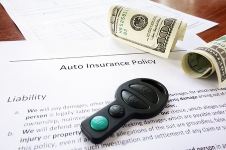 key fob: Auto insurance policy with cash and key fob