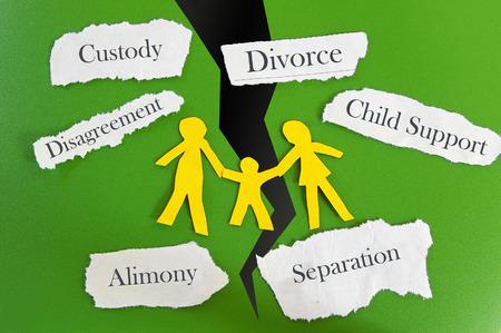ley: Familia recorte de papel con mensajes relacionados con el divorcio