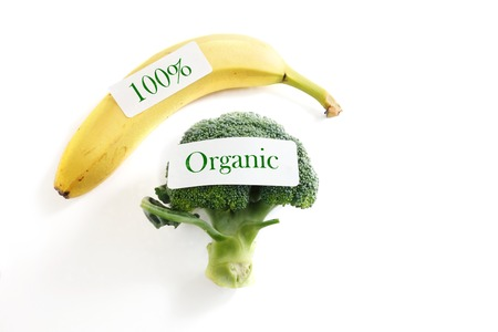 sourced: broccoli and banana with 100 percent organic labels Stock Photo