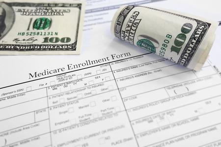 medicare: Medicare enrollment form and cash