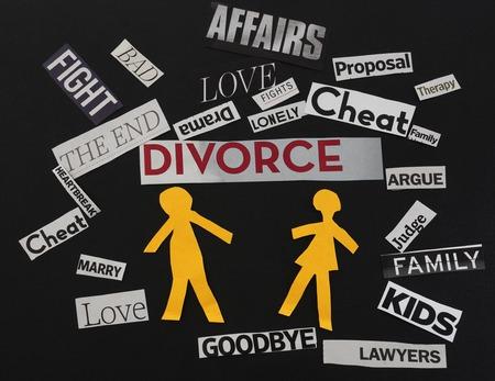 Papier Ehepaar mit Scheidungsthemenpapier Nachrichten Standard-Bild - 34372257