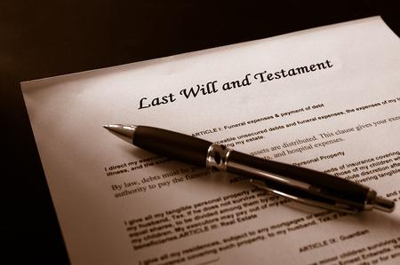 Dernier document et stylo testament Banque d'images