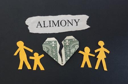 alimony: Paper family split between broken dollar heart with Alimony text Stock Photo