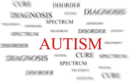 Autism in red with autism related terms surrounding it Stock Photo