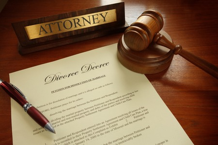 decree: Divorce Decree with gavel and Attorney nameplate Stock Photo