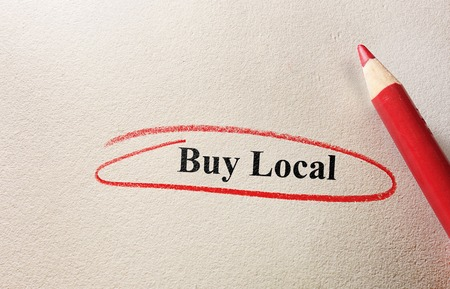 Buy Local red circle and pencil on textured paper