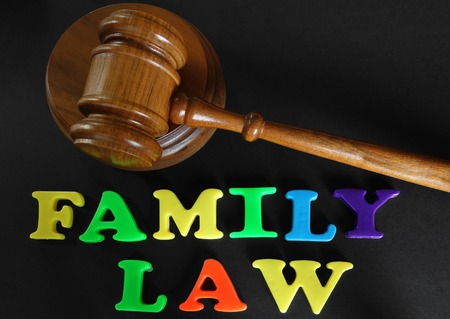 family law: Family Law in play letters, with gavel
