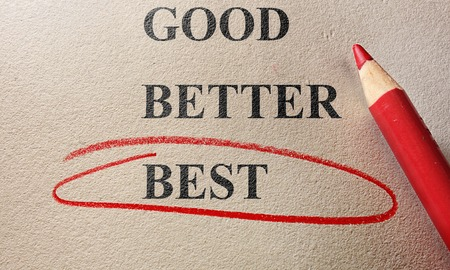 good better best: Red circle and pencil Good, Better Best text