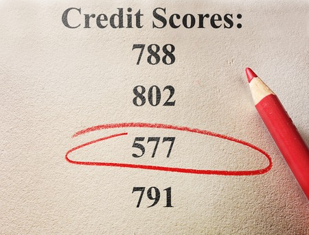 credit score: Red circle around a bad credit score
