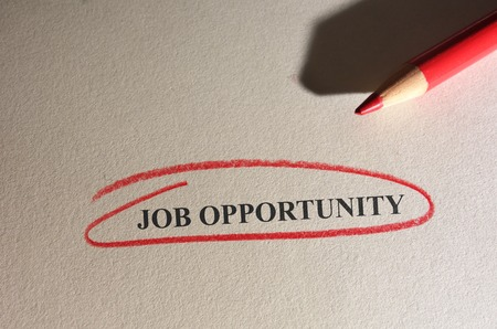 red pencil: Job Opportunity text circled in red pencil