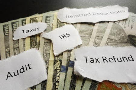 IRS tax related paper notes on cash