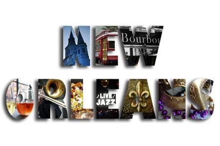 New Orleans illustratie met diverse beroemde bezienswaardigheden en lokale beeldspraak