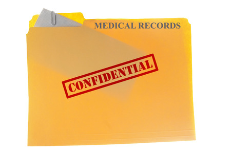 record label: Medical records envelope attached to a  file-folder with Confidential text, isolated on white