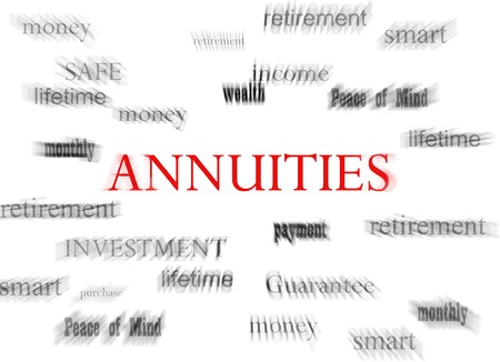 annuities: Annuities in red with related terms, on white