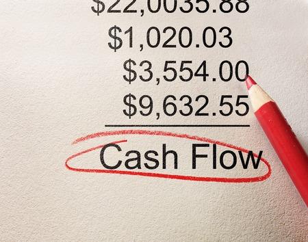 Cash Flow omcirkeld hieronder positieve boekhoudkundige cijfers Stockfoto