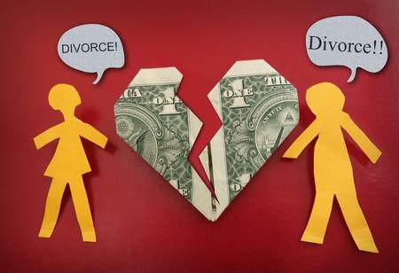 relationship breakup: fighting paper couple and broken dollar heart - money trouble - divorce concept