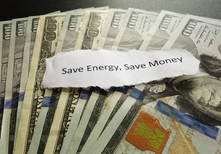 Save Energy Save Money message on money