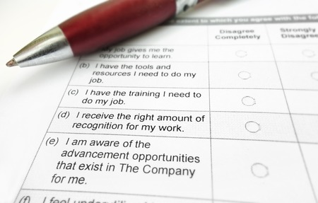 employee satisfaction: Closeup on an employee satisfaction survey