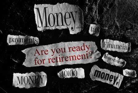 financial planning: Financial news items and retirement question Stock Photo