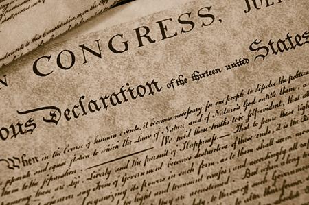 La Déclaration d'Indépendance texte sur papier usé