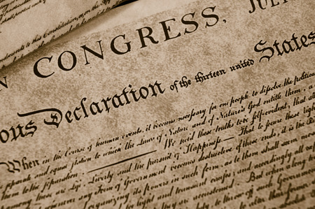 declaration: The Declaration of Independence text on worn paper