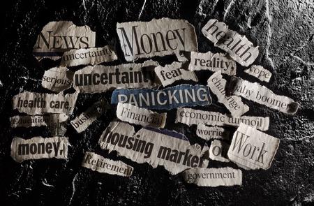 bad planning: Newspaper headlines with economic related topics Stock Photo