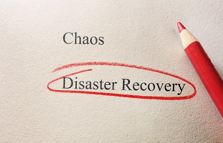 disaster recovery: Red pencil circle around Disaster Recovery text Stock Photo