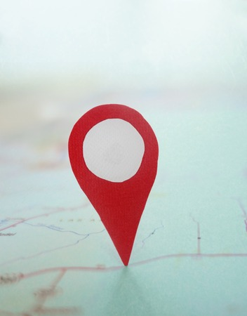 exact position: Red locator symbol on a map